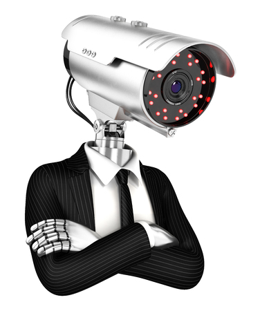 patrolman: 3d security agent with camera head, illustration with isolated white background
