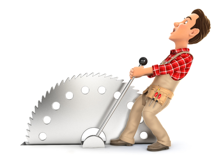 3d handyman activating circular saw, illustration with isolated white background