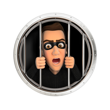 intruder: 3d thief behind bars, illustration with isolated white background Stock Photo