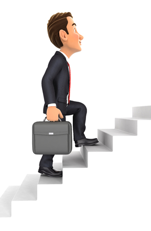 upstairs: 3d businessman going upstairs, illustration with isolated white background