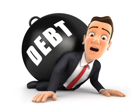 3d businessman crushing debt, illustration with isolated white background