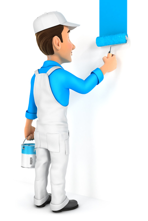 3d schilder het schilderen muur, illustratie met geïsoleerde witte achtergrond