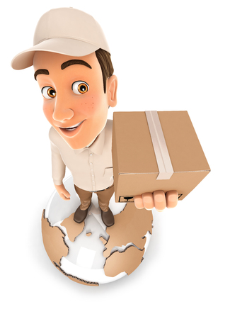 3d delivery man standing on earth, illustration with isolated white background Stock Photo
