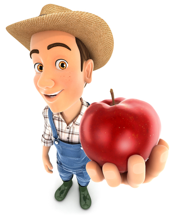Fazendeiro 3d segurando maçã vermelha, ilustração com fundo branco isolado Foto de archivo - 80911646