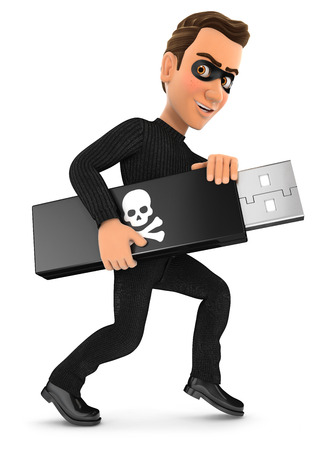 cybercrime: 3d thief holding usb key, illustration with isolated white background Stock Photo