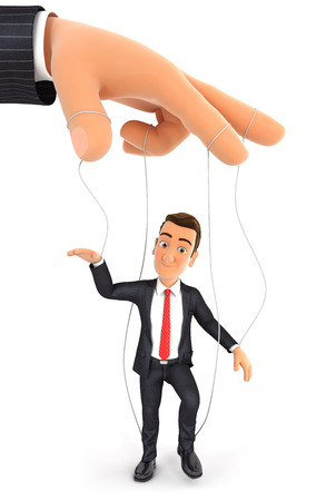 3d businessman puppet concept, illustration with isolated white background