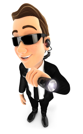 3d security agent holding flashlight, illustration with isolated white background