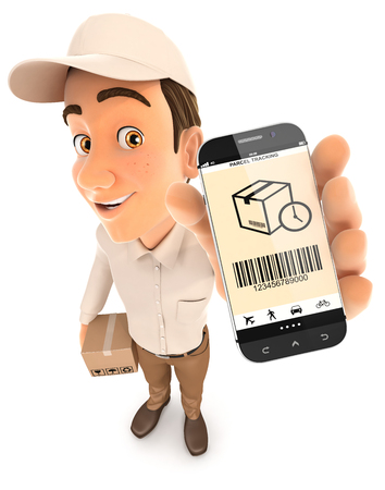 delivery service: 3d delivery man holding smartphone, illustration with isolated white background Stock Photo