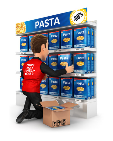 3d seller arranging packs of pasta in supermarket shelve, illustration with isolated white background