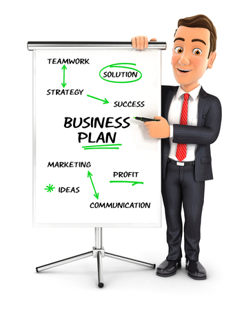 3d businessman writing business plan on paperboard, illustration with isolated white background