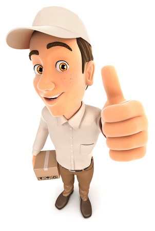 3d delivery man positive pose with thumb up, illustration with isolated white background Stock Photo