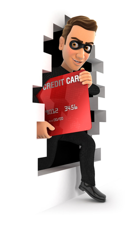 3d thief coming out through a wall with credit card, illustration with isolated white background