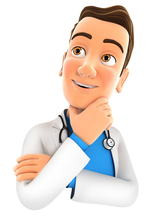 3d doctor thinking, illustration with isolated white background