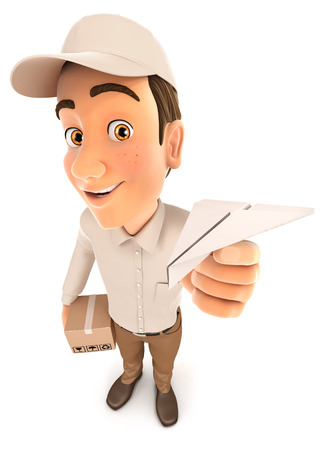 3d delivery man holding paper airplane, illustration with isolated white background