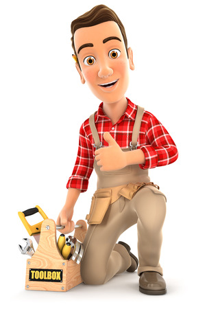 belt up: 3d handyman with toolbox and thumb up, illustration with isolated white background Stock Photo
