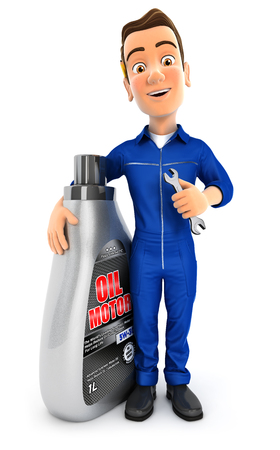 3d mechanic standing next to oil motor canister, illustration with isolated white background