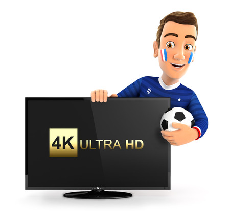 3d french soccer fan with 4K ultra HD television, illustration with isolated white background Stock Photo
