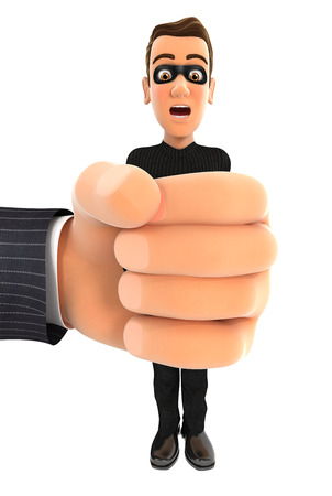 3d big hand squeezing thief, illustration with isolated white background