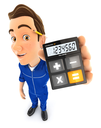 3d mechanic holding calculator, illustration with isolated white background