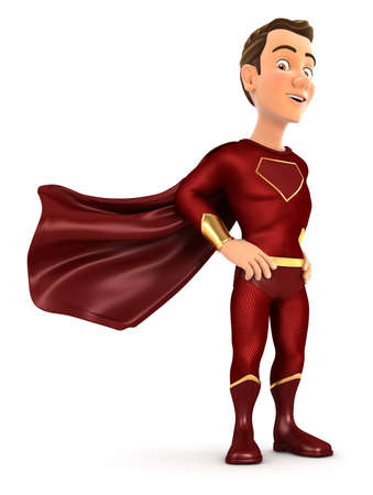 3d red hero standing with cape in the wind, illustration with isolated white background