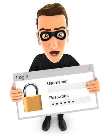 3d thief holding a login message, illustration with isolated white background