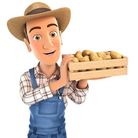3D fermier tenant la caisse de pommes de terre, illustration avec fond blanc isolé Banque d'images - 92627104