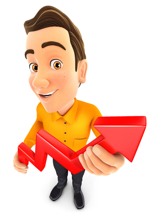 3d man holding a growing curve, illustration with isolated white background Stock Photo