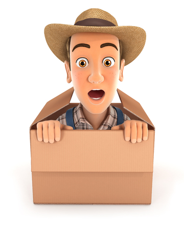 3d farmer coming out of the box, illustration with isolated white background
