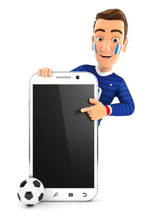 3d french soccer fan pointing to blank smartphone, illustration with isolated white background