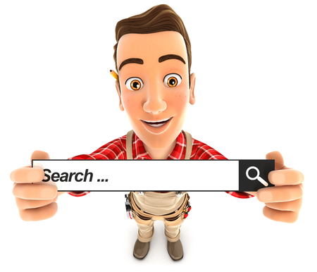 3d handyman holding a search bar, illustration with isolated white background Stock Photo