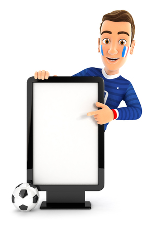 3d french soccer fan pointing to blank billboard, illustration with isolated white background