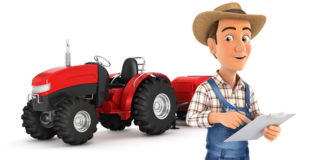 3d farmer with notepad in front of tractor, illustration with isolated white background