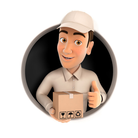 3d delivery man with package and thumb up inside circular hole, illustration with isolated white background