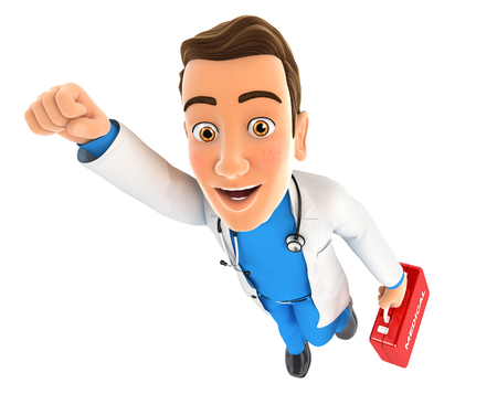 3d doctor flying with first aid kit, illustration with isolated white background Archivio Fotografico