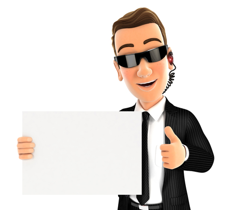 3d security agent holding placard with thumb up, illustration with isolated white background Фото со стока