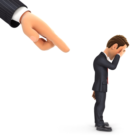 3d big hand pointing to a businessman, illustration with isolated white background