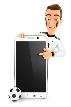 3d german soccer fan pointing to blank smartphone, illustration with isolated white background