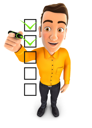 3d man checklist, illustration with isolated white background