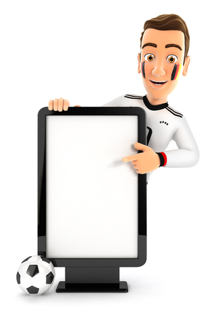 3d german soccer fan pointing to blank billboard, illustration with isolated white background