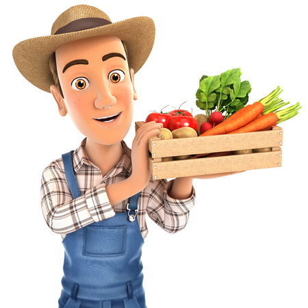 3d farmer holding crate of vegetables, illustration with isolated white background Banque d'images - 104713961
