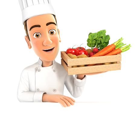 3d head chef holding wooden crate of vegetables, illustration with isolated white background Stock Photo