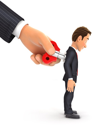 3d big hand turning wind up key on businessman back, illustration with isolated white background Reklamní fotografie