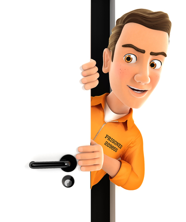 3d prisoner peeking behind a door, illustration with isolated white background