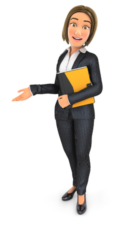 3d business woman holding folder and showing white copy space, illustration with isolated white background