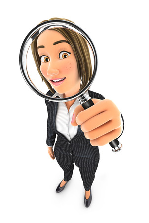 3d business woman looking into a magnifying glass, illustration with isolated white background Banque d'images