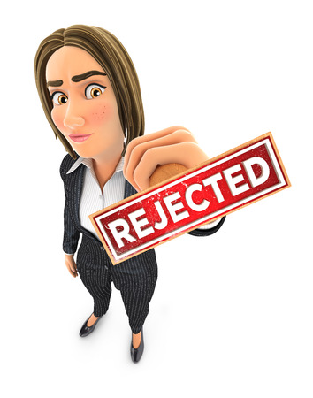 3d business woman rejected stamp, illustration with isolated white background