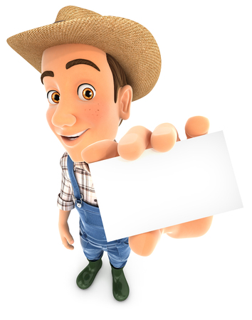 3d farmer holding business card, illustration with isolated white background