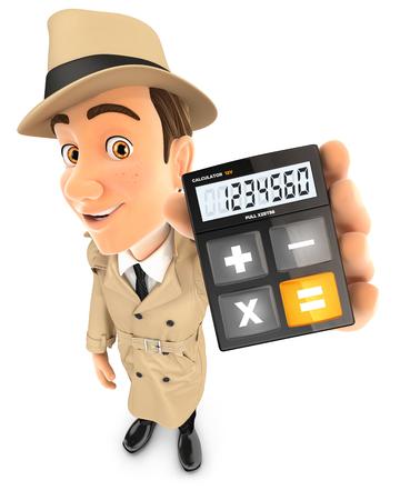Détective 3d holding calculatrice, illustration avec fond blanc isolé