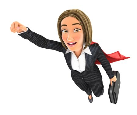 3d business woman flying with briefcase, illustration with isolated white background