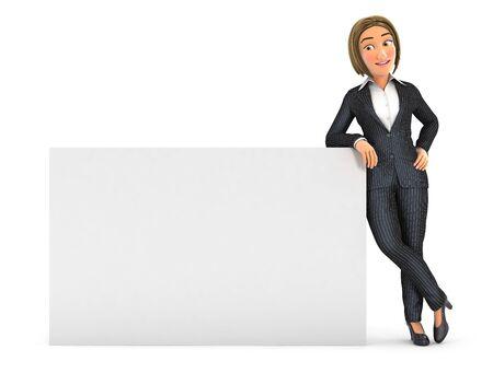 3d donna d'affari appoggiata al muro bianco, illustrazione con sfondo bianco isolato